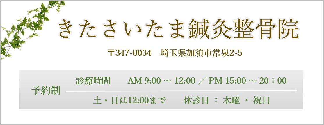 きたさいたま鍼灸整骨院|埼玉県加須市常泉2-5|Tel0480-53-5963